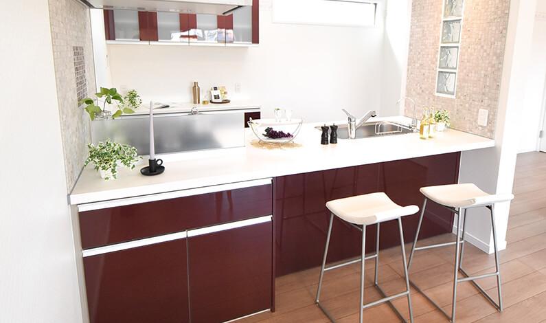幅広キッチンの奥行 イメージ