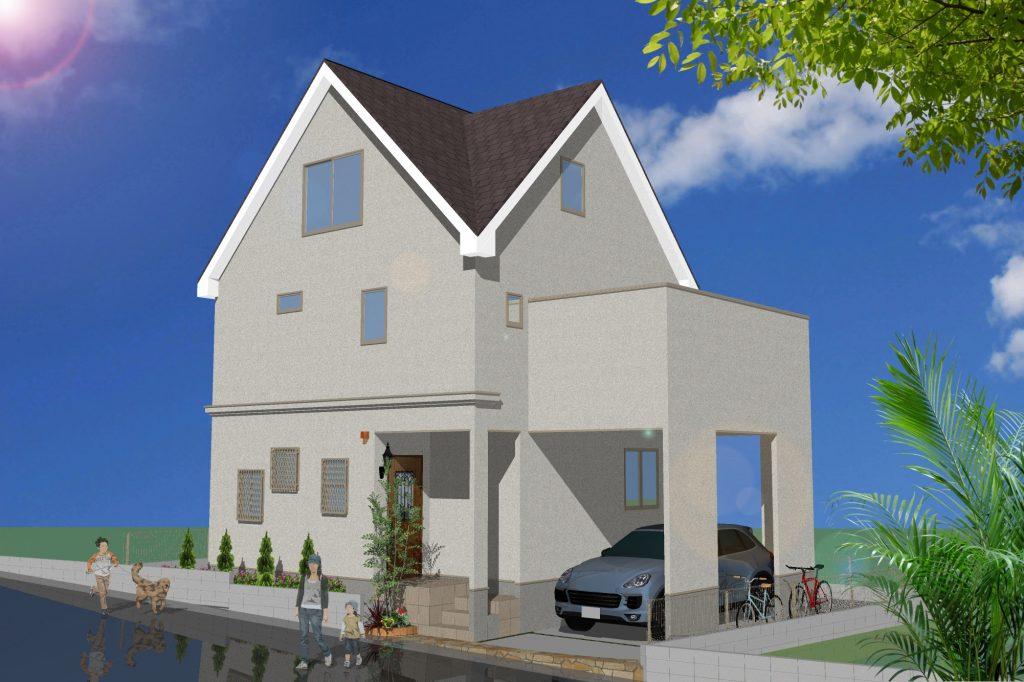 完成予想パース 三角屋根のお洒落な遊び心のある家