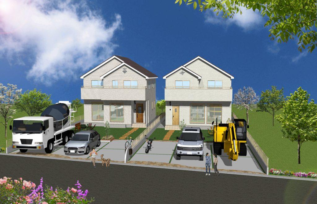 完成予想パース 敷地面積69坪超のゆったりとした限定2棟!
