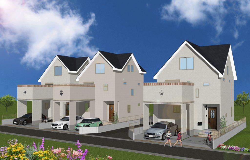 完成予想パース 三角屋根のお洒落な遊び心のある家全3棟!
